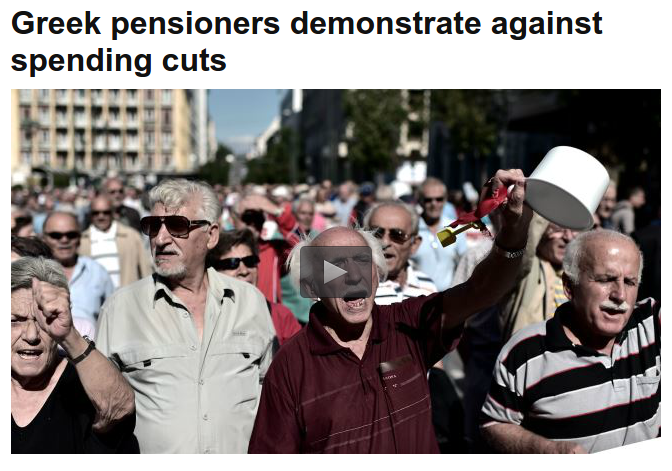 'Greek Penioners Demonstrate Against Spending Cuts '