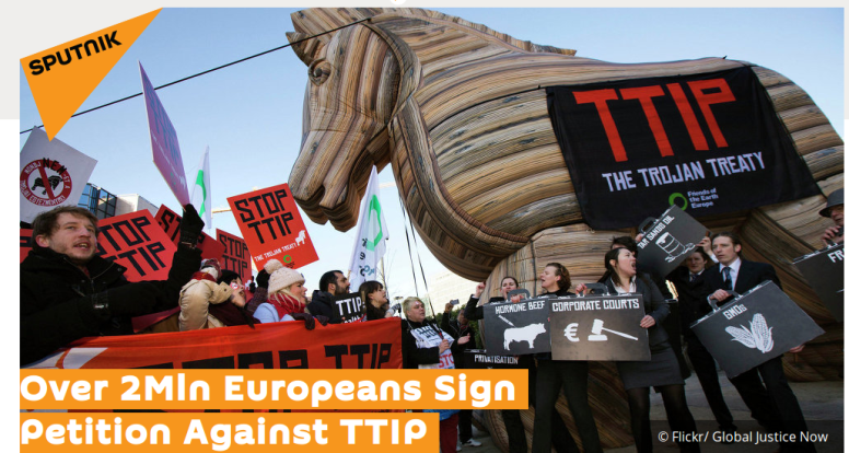 TTIP Protesters call Agreement a Trojan Horse'