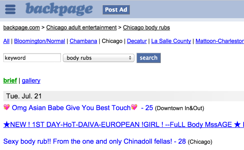 Just a sampling of the adult-entertainment listings on Backpage for the Chicago area.