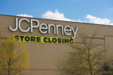 The JCPenny Department Store with a Store Closing banner on April 27, 2014. The JCPenny store is located in the Burlington Center Mall in Burlington, NJ.
